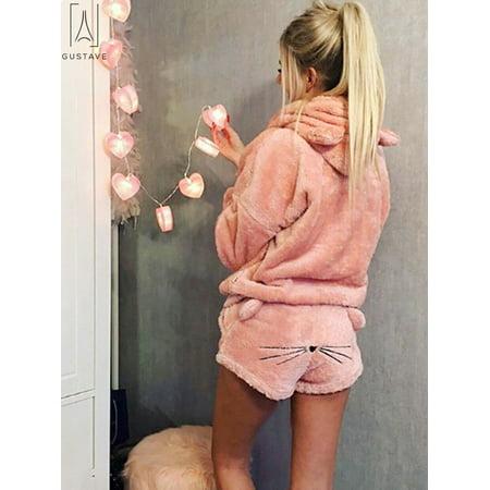 GustaveDesign 1 Set Fashion Winter Women Cat Pajamas 2pcs(Warm Hoodie+Shorts Hoodie )Sleepwear