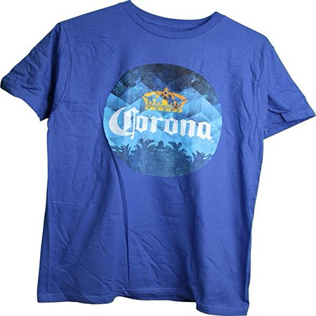 Corona Distressed Circle Logo With Crown Palm Trees Adult Men  39 S T Shirt  Xxx Large