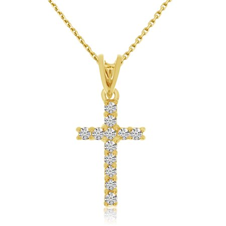 357 Lineage Pendant (14K Yellow Gold Diamond Cross Pendant with 18