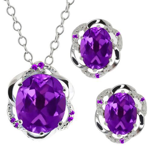 6.87 Ct Oval Purple Amethyst Gemstone Sterling Silver Pendant Earrings Set
