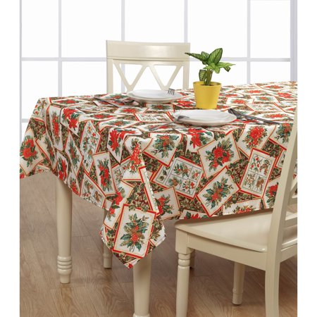 European Holiday Christmas Poinsettia Bloom Design Printed