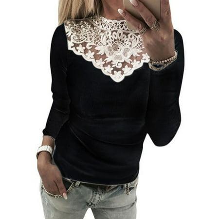 Crochet Neckline Top (Womens Lace Crochet Long Sleeve T Shirt Tops Crew Neck Slim Pullover Blouse Tee)