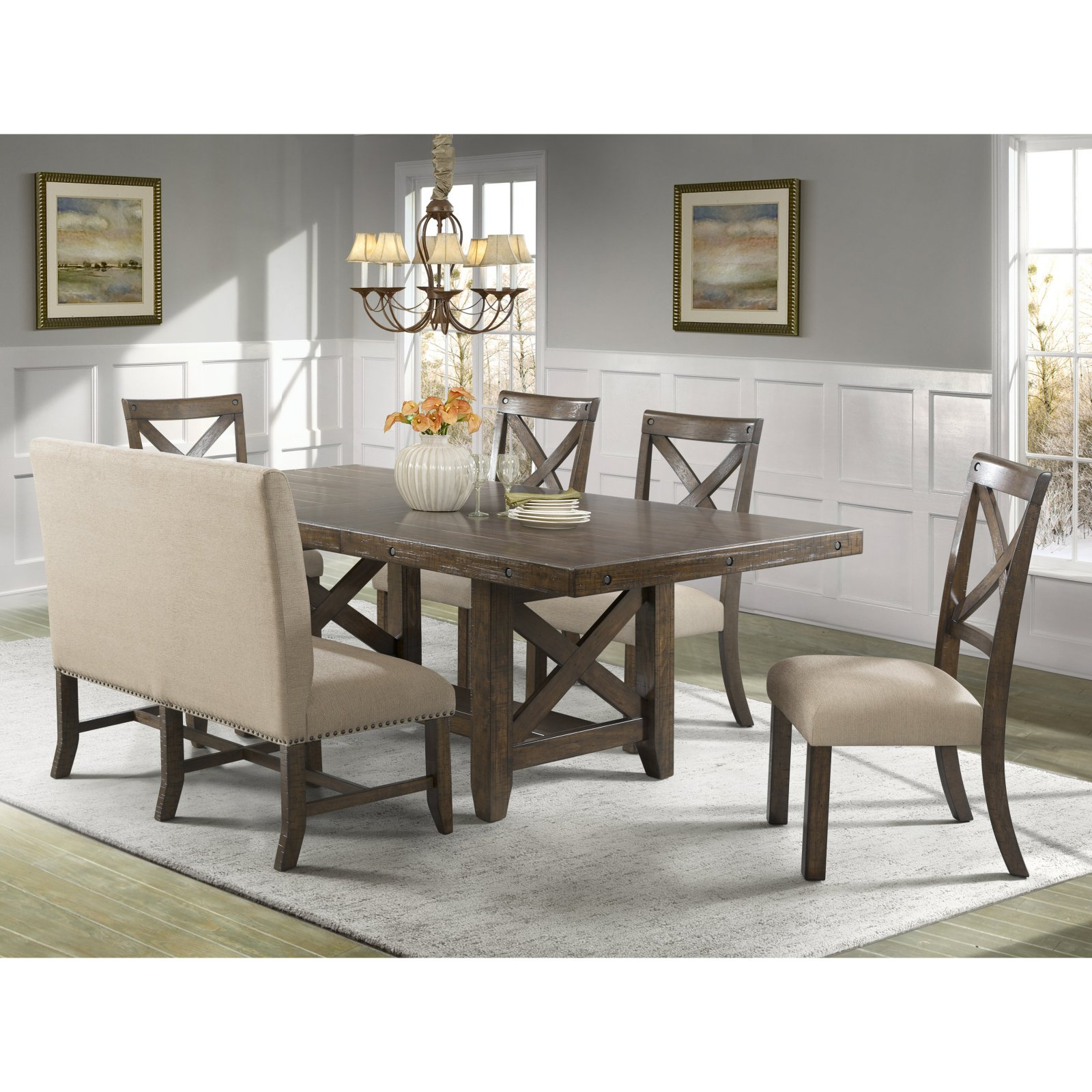 Picket House Francis 6 Piece Cross Back Dining Table Set