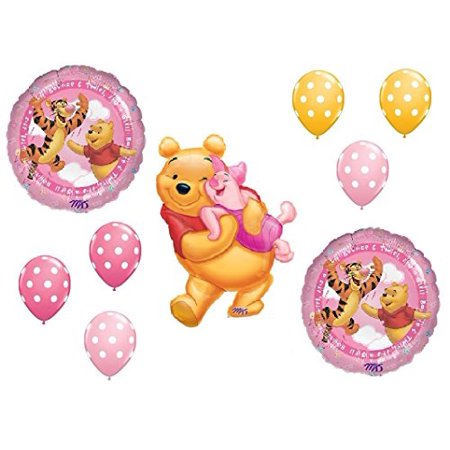 Winnie the Pooh and Piglet Baby GIRL Shower Welcome Little One Balloons Bouquet Party Decor](Pooh Party Supplies)
