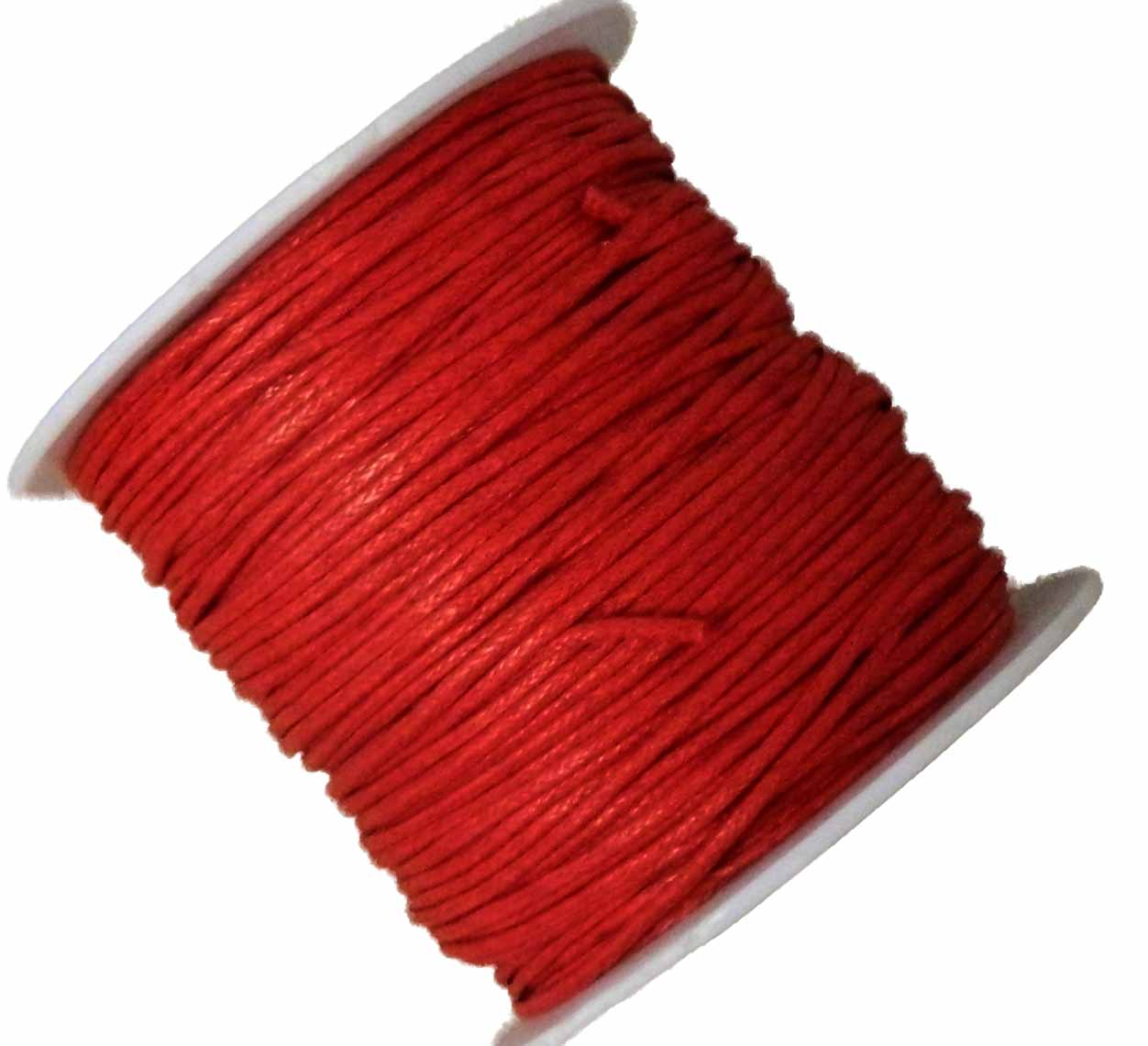 1mm Waxed Cotton Jewelry Macrame Craft Cord 80 Yards Wolven Round Red