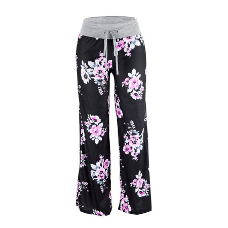 Women's Loose Baggy Yoga Long Pants Floral Printed Trousers Flowy Beach Pants ()