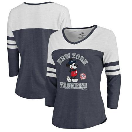 New York Yankees Fanatics Branded Women's Disney MLB Tradition Three-Quarter Sleeve Tri-Blend T-Shirt - Navy