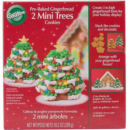 wilton pre baked gingerbread cookie decorating kit mini trees 2 ct 2104