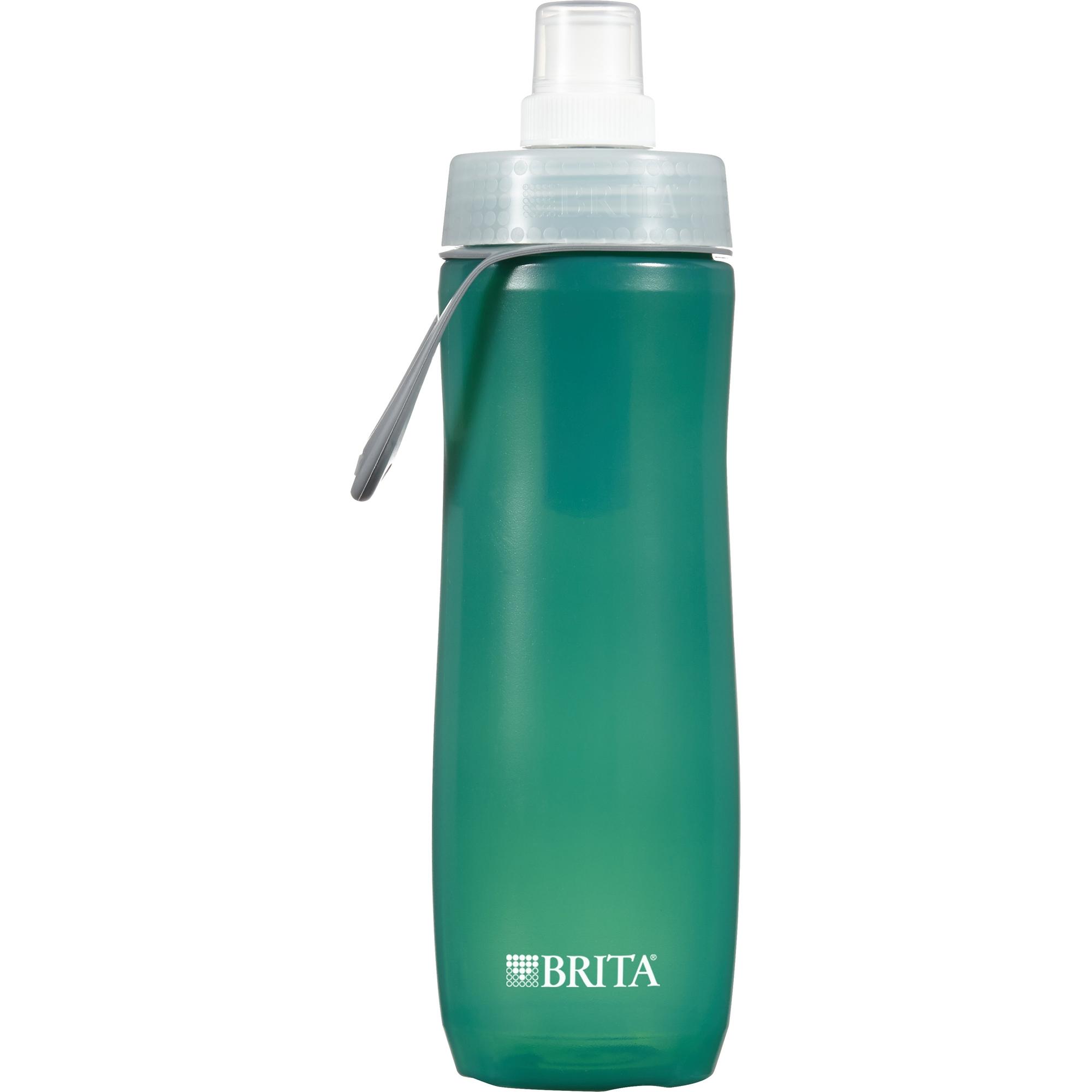 Brita 20 Ounce Sport Water Bottle with 1 Filter, BPA Free, Dark Green
