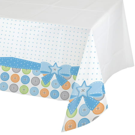 Pack of 6 Cute As A Button Boy Disposable Rectangle Plastic Banquet Party Table Covers 102