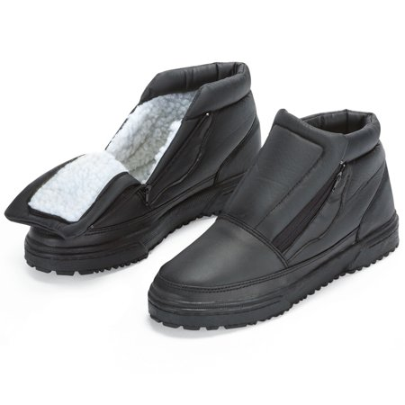Water Resistant Fleece Insulated Snow Boots with Flip-Out Ice Grippers and Skid-Resistant Soles, 12,