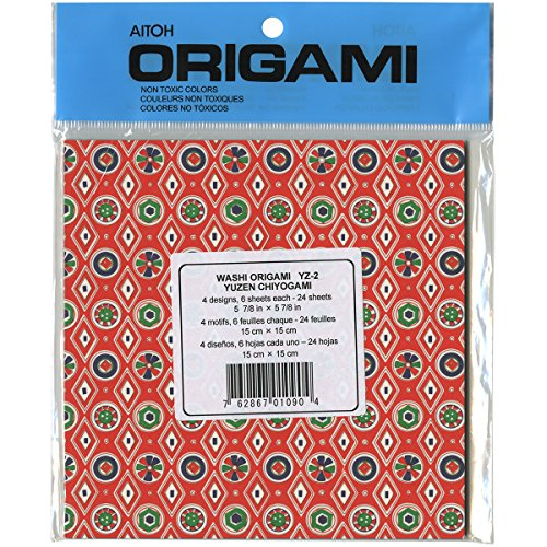 Aitoh YZ-2 Chiyogami Origami Paper, 5.875-Inch by 5.875-Inch, 24-Pack Multi-Colored