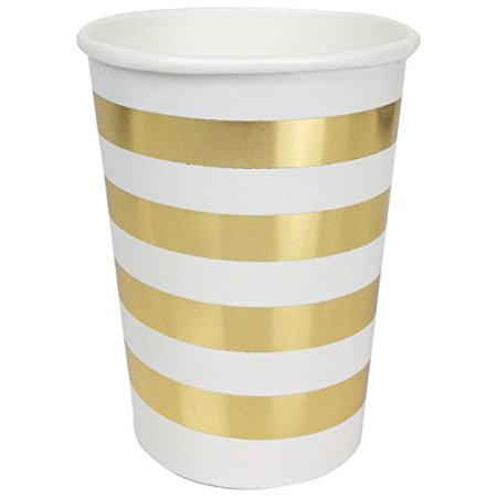 Just Artifacts Striped Party Paper Cups (24pc, Metallic Gold) - Paper Decorations for Birthday Parties, Weddings, Baby Showers, and Life Celebrations! - Baby Decorations For Shower