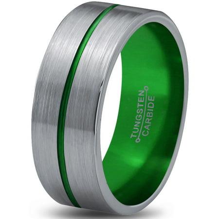 Brushed Satin Flat Band - Tungsten Wedding Band Ring 8mm for Men Women Green Grey Flat Center Line Pipe Cut Brushed Polished Lifetime Guarantee