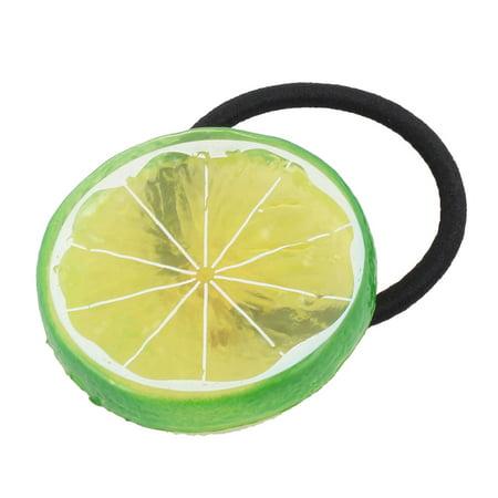 Unique BargainsGirl Elastic Fabric Rope Lemon Design Headband Hairdress Hair Ponytail Holder - Lemon Heads