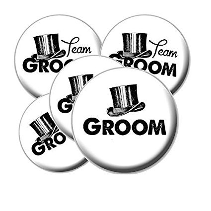 8 Top Hat Team Groom Buttons - Bachelor Party Buttons - Top Hat Team Groom Buttons - Bachelor (Best Cigars For Bachelor Party)