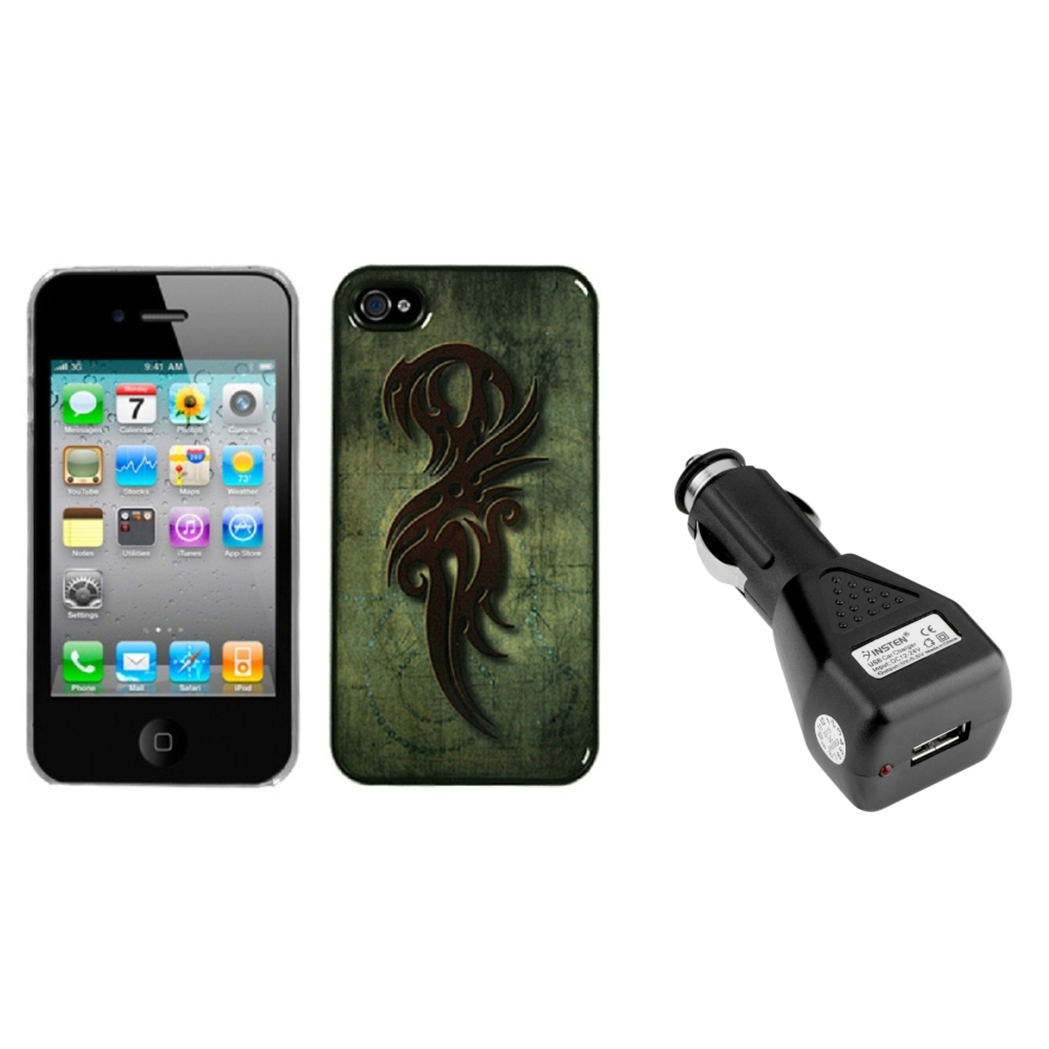 Insten Rune of Power Dream Back Proector Cover For iPhone 4 4S + USB Car Charger