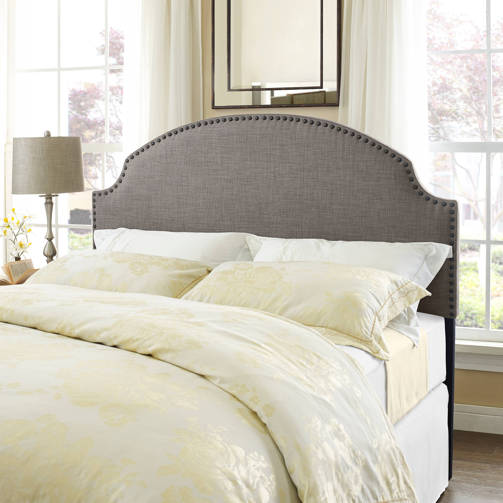 Dorel Living Skylar Nailhead Linen Headboard Full/Queen, Multiple Colors