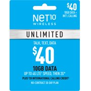 Net10 $40 Unlimited 30-Day Plan e-PIN Top Up (Email Delivery)