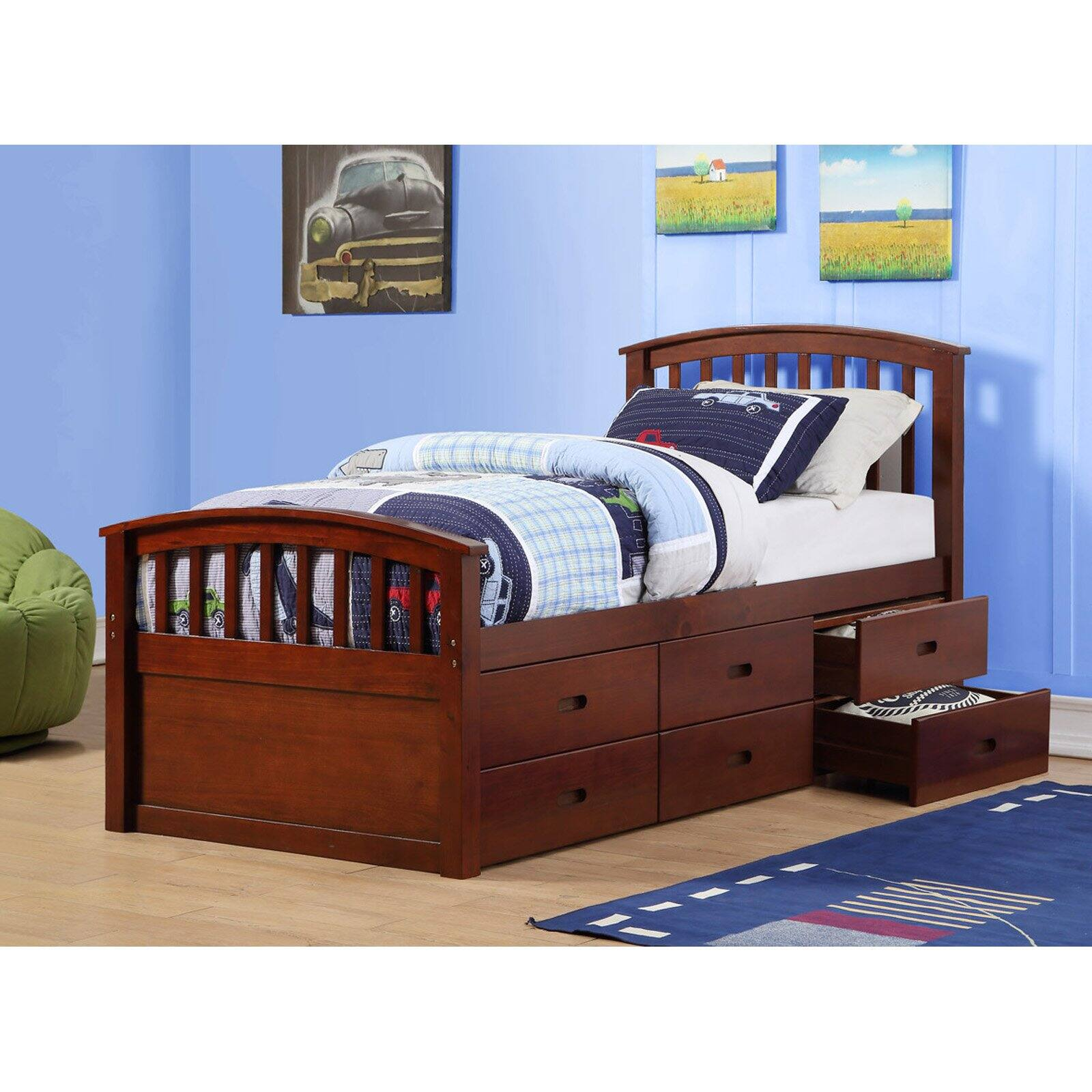 Picture of: Donco Kids Pd 425cp 6 Drawer Storage Bed Twin Size 44 Dark Cappuccino Walmart Com Walmart Com