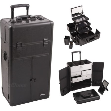 98aa50693e Sunrise I3565CRAB Black Croc Trolley Makeup Case - I3565