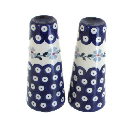 Polish Pottery Blue Violet Salt & Pepper Shakers