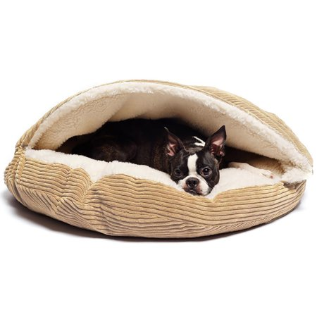 Precious Tails Plush Corduroy And Sherpa Lined Pet Dog Bed