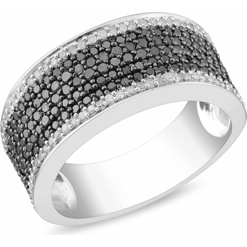 1 Carat T.W. Black and White Diamond Sterling Silver Seven-Row Ring