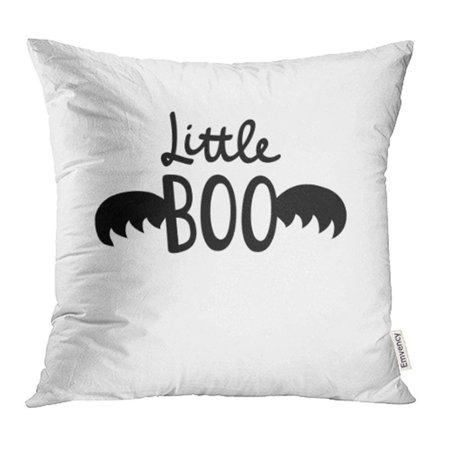 USART Black Autumn Simple Cute Little Boo Halloween Design Baby Emblem with Bat Wings Pillowcase Cushion Cover 16x16 inch (Simple And Cute Halloween Costumes)