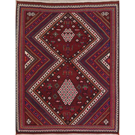 Rugselect Geometric Hand Woven Wool Vintage Red 6x8