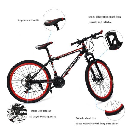 WALFRONT 26inch 21 Speed Dual Disc Brake Damping Mountain Bike Adults Teenagers, Bicycle,Mountain