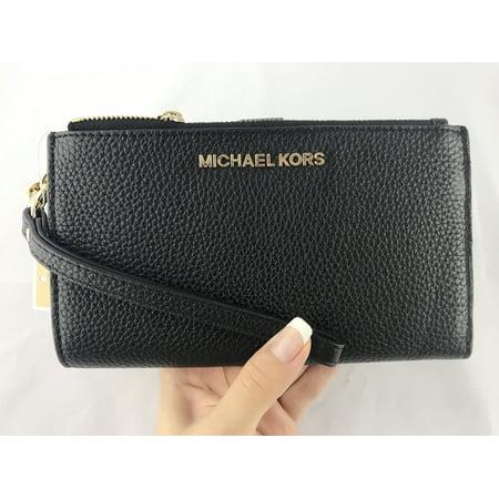6b2e907b6ac1 Michael Kors Jet Set Double Zip Wristlet Phone Wallet Black Pebbled Leather