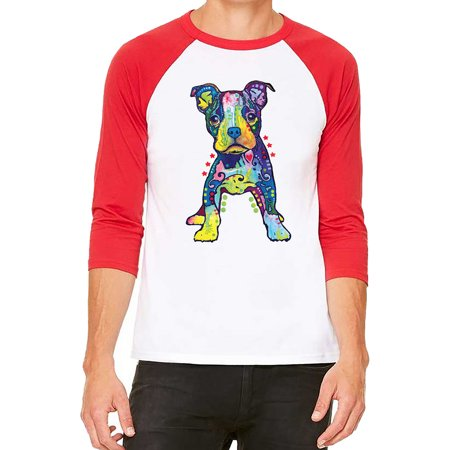 Unisex Neon Pitbull Puppy White/Red C5 3/4 Sleeve Baseball T-Shirt Medium