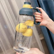 Large Capacity Water Bottle for Men and Women, Transparent Water Cup with Scale and Straw, Suitable for Outdoor Sports, School, Work