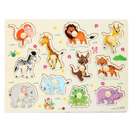Abc Zoo Alphabet Puzzle - Wooden Zoo Animal / Alphabet ABC Peg Jigsaw Puzzle Toy Baby Toddlers Early Learning Educational Plate