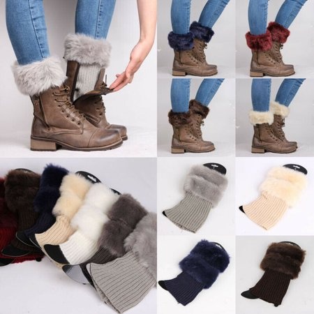 Multitrust Womens Winter Knitted Boot Cuffs Fur Knit Toppers Boot Socks Legs Warmers ()
