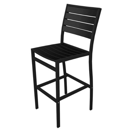 "46"" Earth-Friendly Recycled Patio Bar Chair - Black with Black Frame"