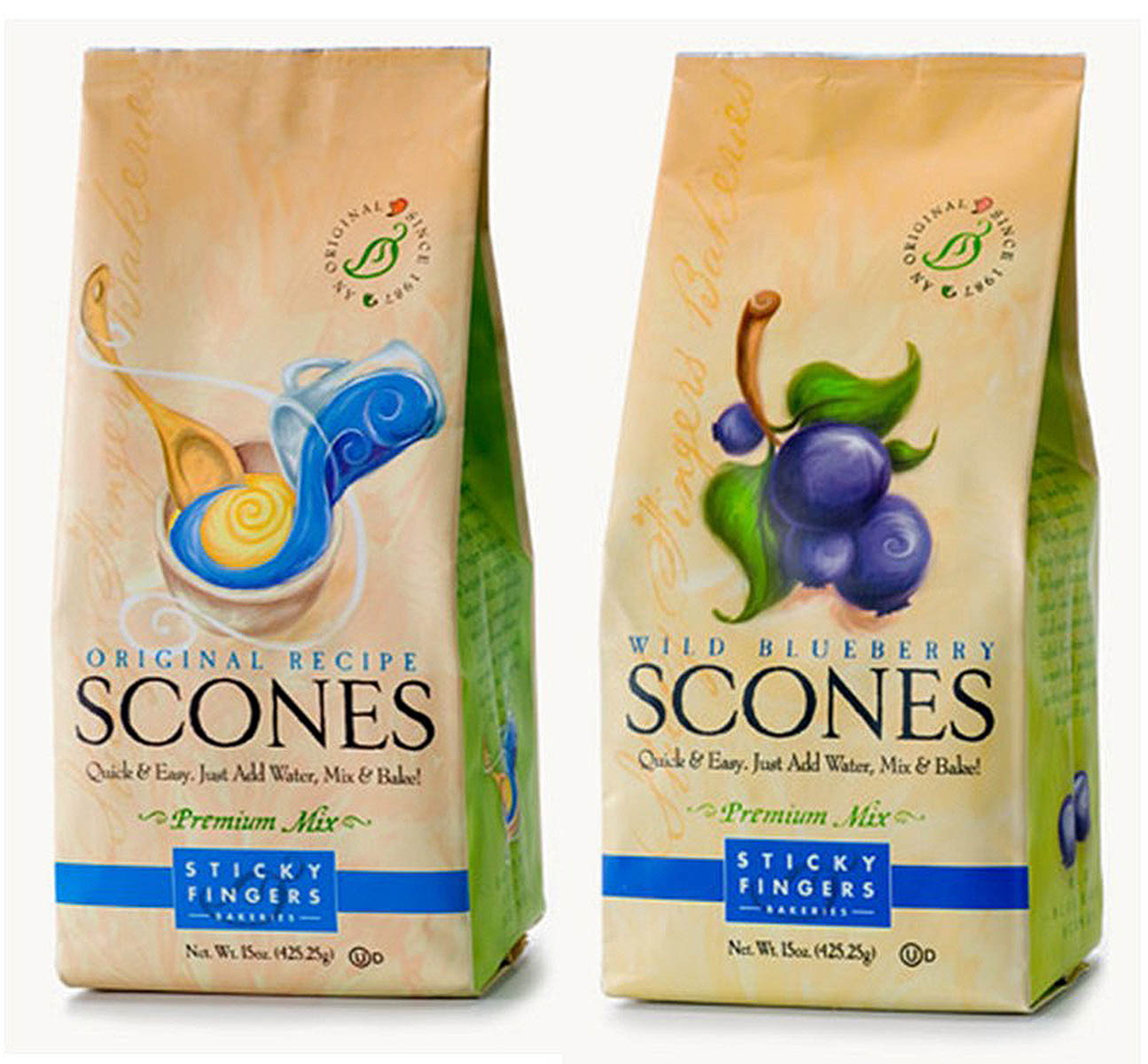 Sticky Fingers Bakeries Original & Wild Blueberry Premium Scones Mix 16 Oz. Set of 2 by