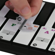 ammoon Colored Piano Keyboard Stickers for 37/ 49/ 61/ 88 Key Keyboards Removable Transparent for Kids Beginners Piano Practice Learning