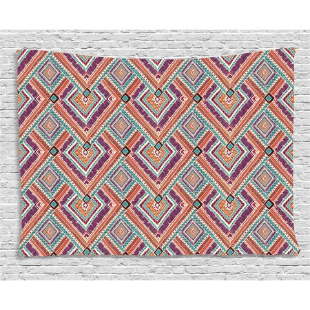 Tribal Decor Tapestry, Native American Retro Diagonal Ethno Pattern with Geometric Shapes Art, Wall Hanging for Bedroom Living Room Dorm Decor, 60W X 40L Inches, Purple and Teal, by Ambesonne