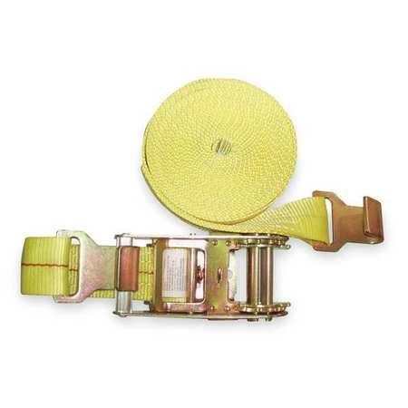 1DKX9 Tie-Down Strap, Ratchet, 27ft x 2In, 1600lb
