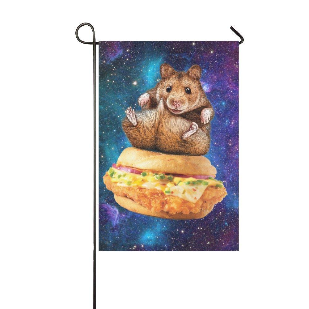 MYPOP Animal Marmots sitting on Hamburgers in Galaxy Space Garden Flag 12x18 inches by MYPOP