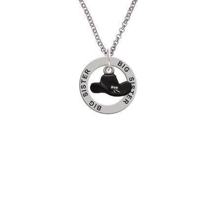 Black Cowboy Hat Big Sister Affirmation Ring Necklace