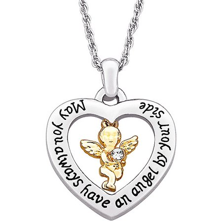 Two-Tone Guardian Angel with Austrian Crystal Heart Pendant, 20