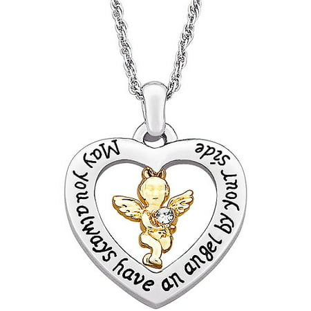 - Two-Tone Guardian Angel with Austrian Crystal Heart Pendant, 20