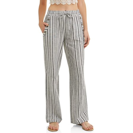 Juniors' Stripe Drawstring Cropped Linen Wide Leg (Crop Pants Suit)