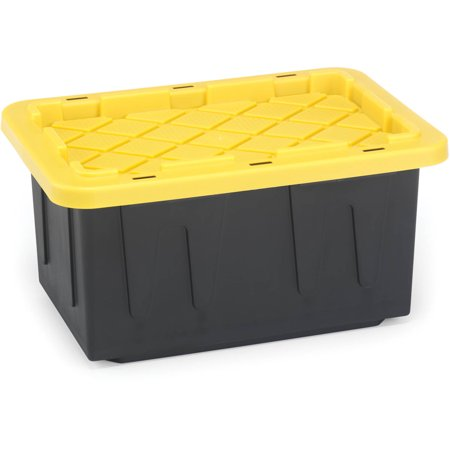 Durabilt by Homz - 15 Gal. Plastic Storage Tote, Black/Yellow, Set of 2 (Plastic Tote With Handle)