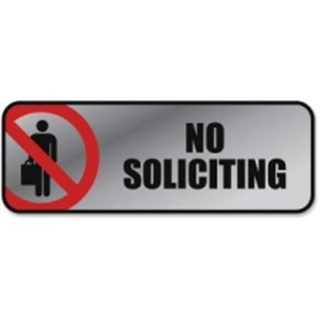 Consolidated Stamp 098208 Brushed Metal Office Sign, No Soliciting - Silver & Red Stamp Metal Sign