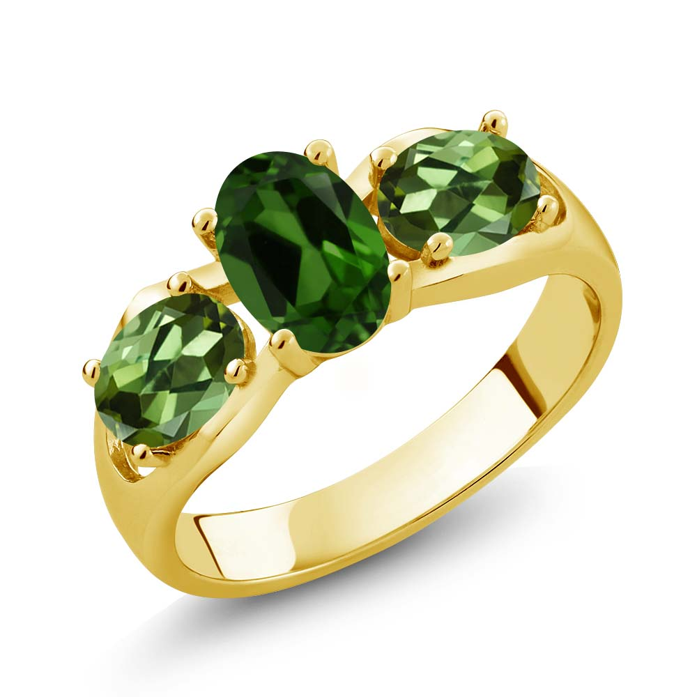 1.80 Ct Oval Green Chrome Diopside Green Tourmaline 14K Yellow Gold Ring by