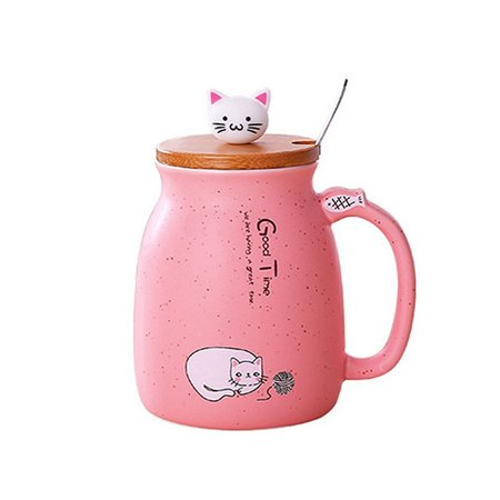 Cat Ceramic Coffee Mug Tea Milk Water Cup Handle + Spoon + Lid Xmas Gift ()